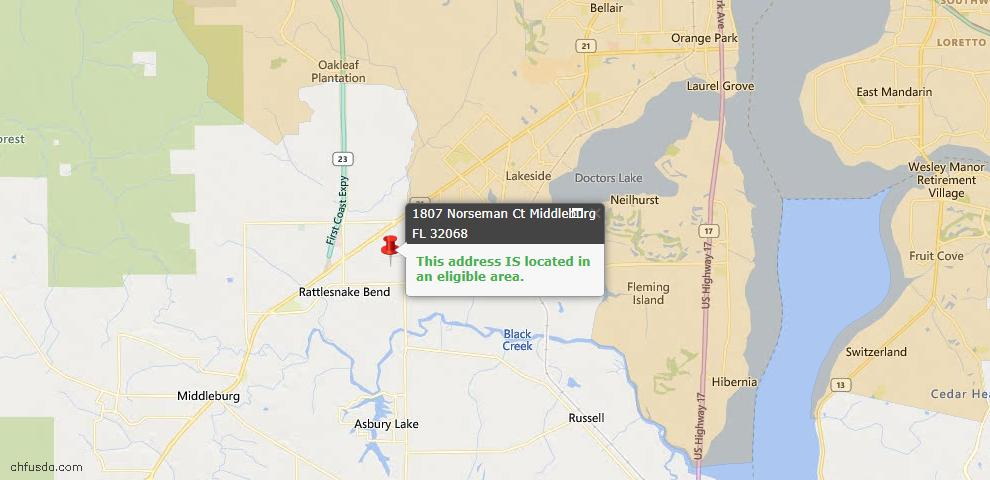 USDA Loan Eligiblity Map - 1807 Norseman Ct, Middleburg, FL 32068
