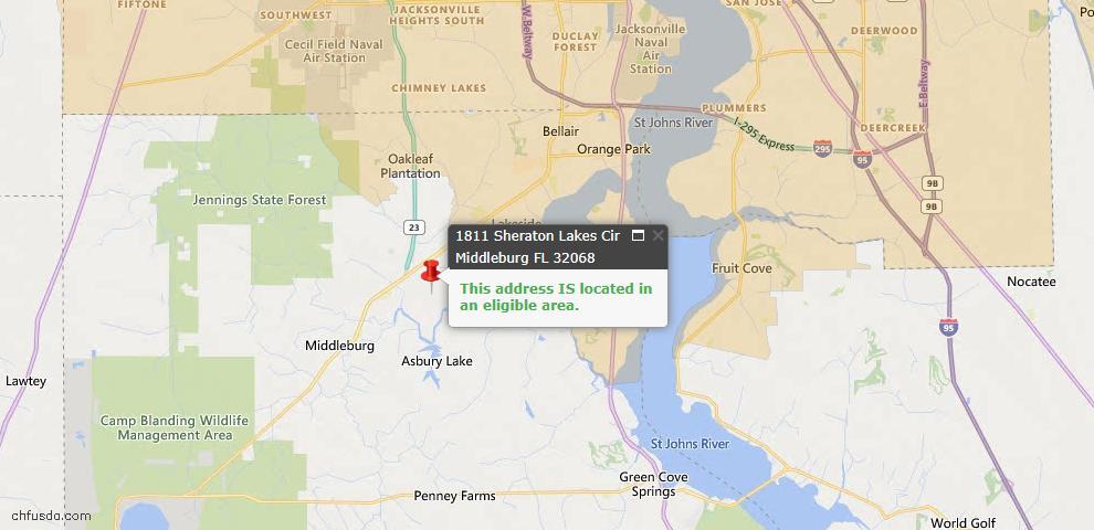 USDA Loan Eligiblity Map - 1811 Sheraton Lakes Cir, Middleburg, FL 32068