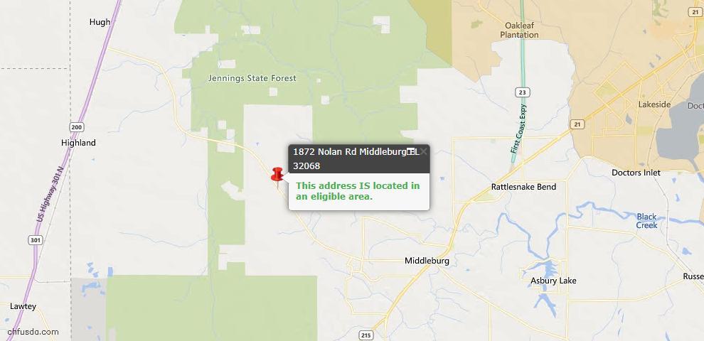 USDA Loan Eligiblity Map - 1872 Nolan Rd, Middleburg, FL 32068