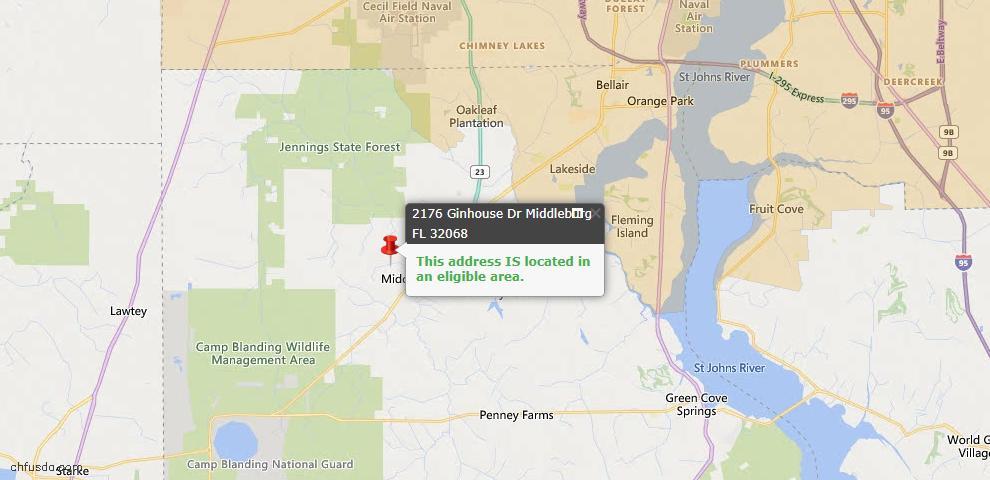 USDA Loan Eligiblity Map - 2176 Ginhouse Dr, Middleburg, FL 32068