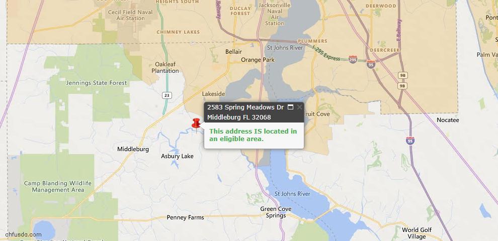 USDA Loan Eligiblity Map - 2583 Spring Meadows Dr, Middleburg, FL 32068