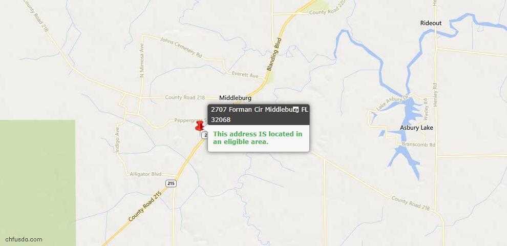 USDA Loan Eligiblity Maps From - Middleburg, FL