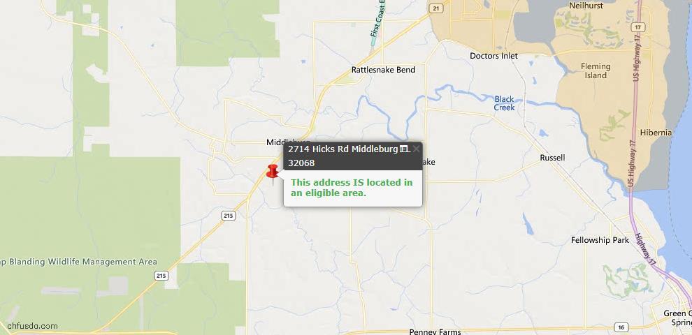 USDA Loan Eligiblity Map - 2714 Hicks Rd, Middleburg, FL 32068