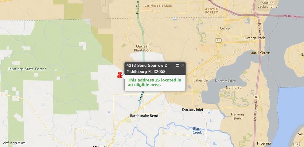 USDA Loan Eligiblity Map - 4313 Song Sparrow Dr, Middleburg, FL 32068