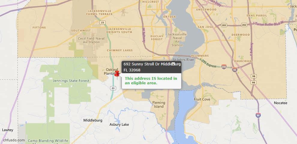 USDA Loan Eligiblity Map - 692 Sunny Stroll Dr, Middleburg, FL 32068