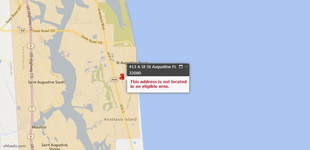 USDA Loan Eligiblity Maps From - St Augustine, FL