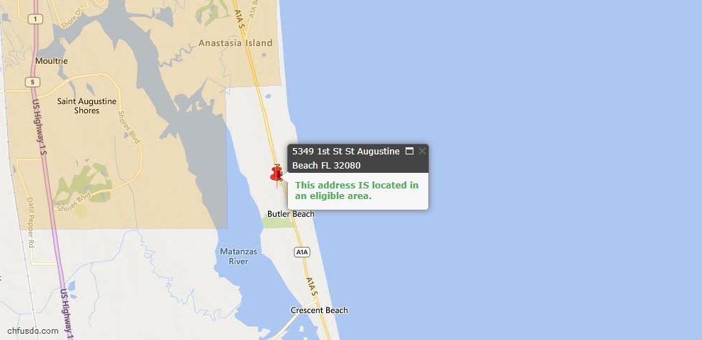 USDA Loan Eligiblity Maps From - St Augustine Beach, FL