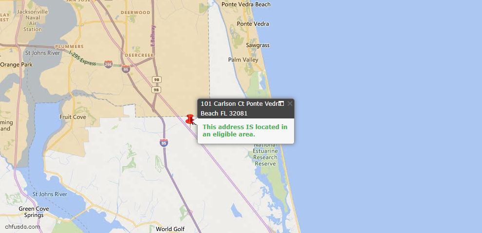 USDA Loan Eligiblity Map - 101 Carlson Ct, Ponte Vedra, FL 32081