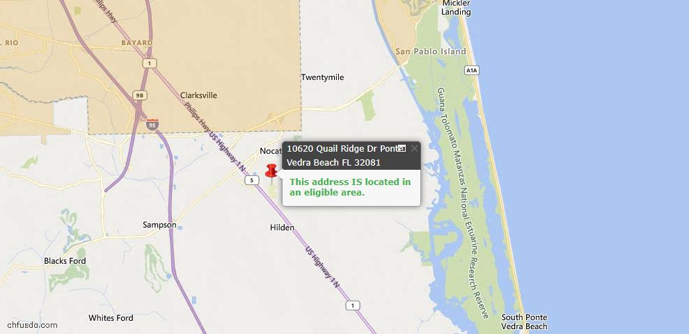 USDA Loan Eligiblity Map - 10620 Quail Ridge Dr, Ponte Vedra, FL 32081
