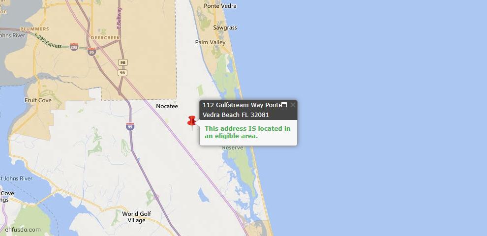 USDA Loan Eligiblity Map - 112 Gulfstream Way, Ponte Vedra, FL 32081