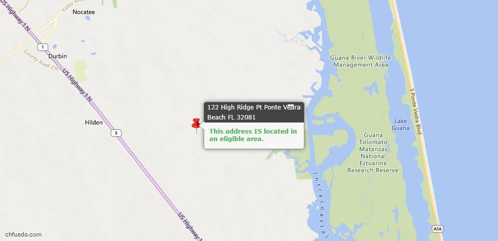 USDA Loan Eligiblity Map - 122 High Ridge Pt, Ponte Vedra, FL 32081