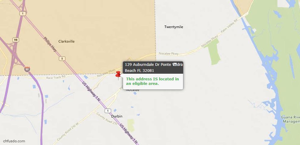 USDA Loan Eligiblity Map - 129 Auburndale Dr, Ponte Vedra, FL 32081