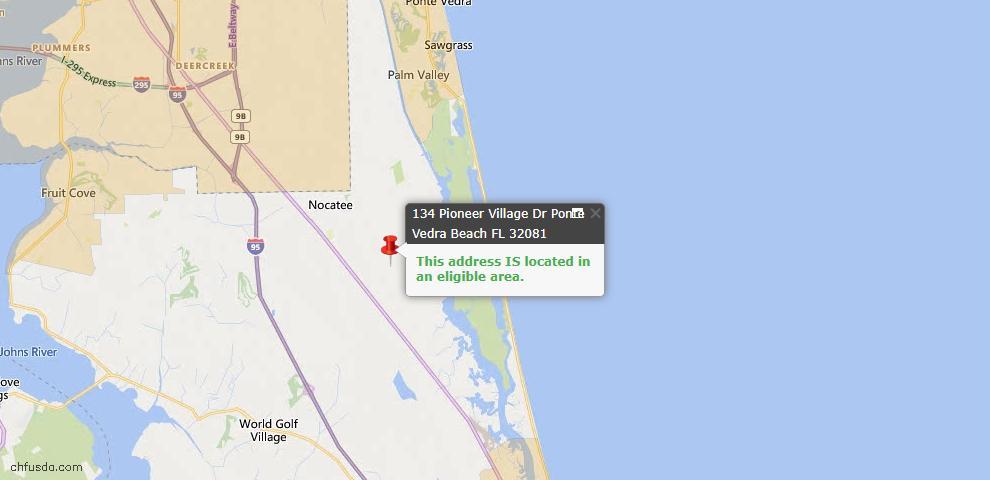 USDA Loan Eligiblity Map - 134 Pioneer Village Dr, Ponte Vedra, FL 32081
