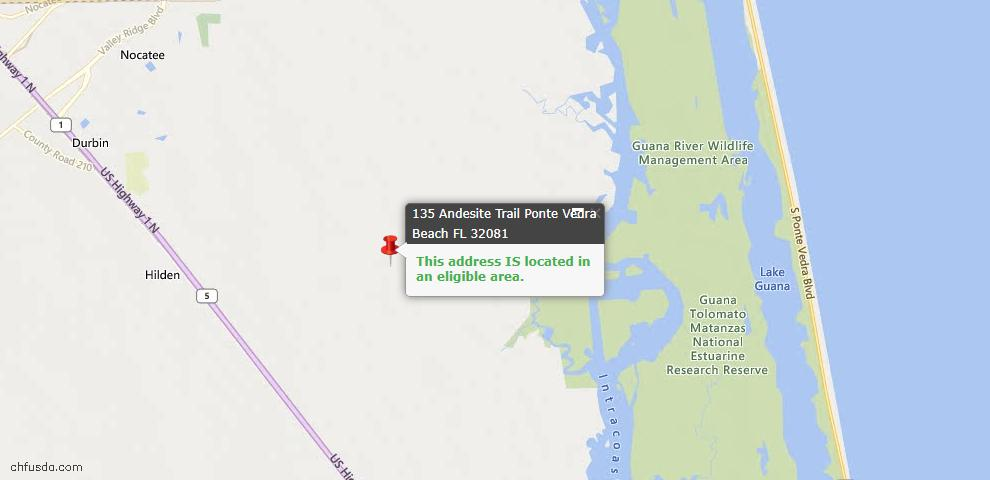 USDA Loan Eligiblity Map - 135 Andesite Trl, Ponte Vedra, FL 32081