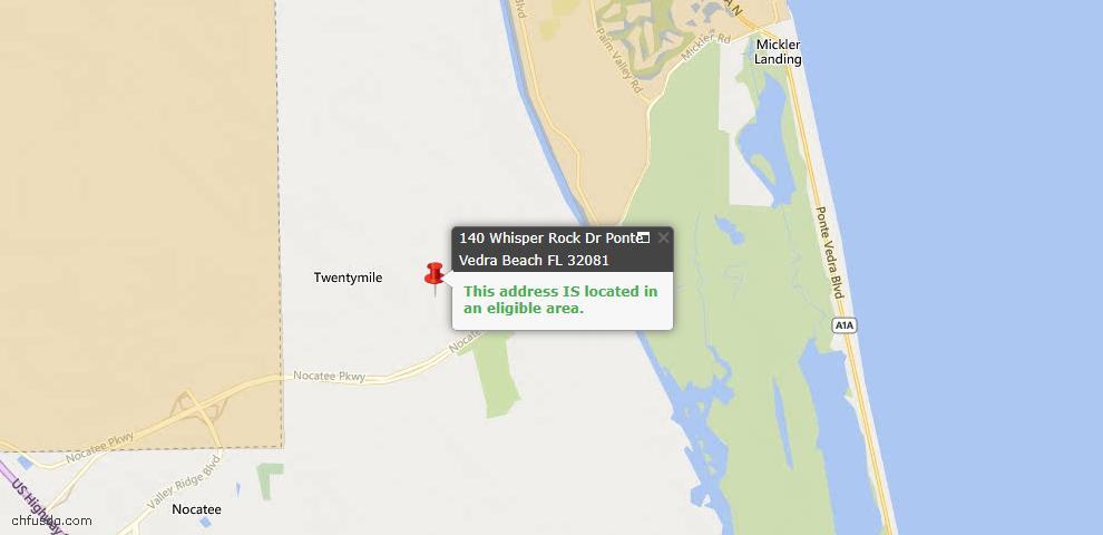 USDA Loan Eligiblity Map - 140 Whisper Rock Dr, Ponte Vedra, FL 32081