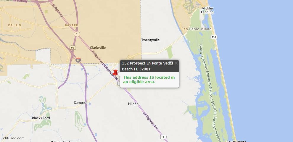 USDA Loan Eligiblity Map - 152 Prospect Ln, Ponte Vedra, FL 32081