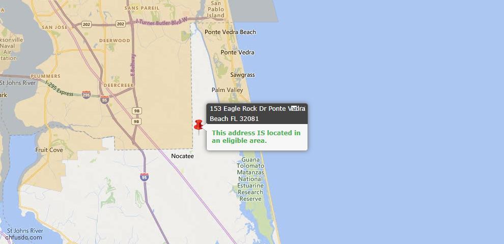 USDA Loan Eligiblity Map - 153 Eagle Rock Dr, Ponte Vedra, FL 32081