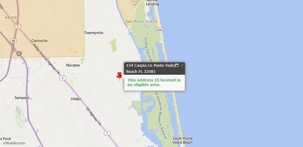 USDA Loan Eligiblity Map - 154 Caspia Ln, Ponte Vedra, FL 32081
