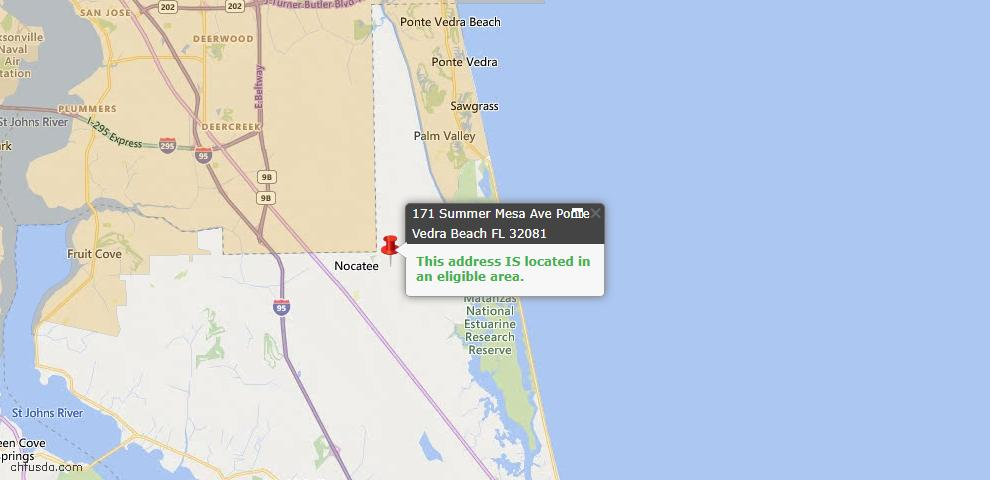USDA Loan Eligiblity Map - 171 Summer Mesa Ave, Ponte Vedra, FL 32081