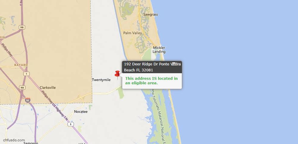 USDA Loan Eligiblity Map - 192 Deer Ridge Dr, Ponte Vedra, FL 32081