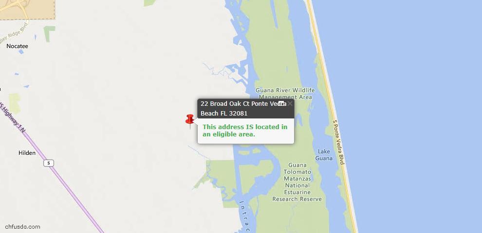 USDA Loan Eligiblity Map - 22 Broad Oak Ct, Ponte Vedra, FL 32081