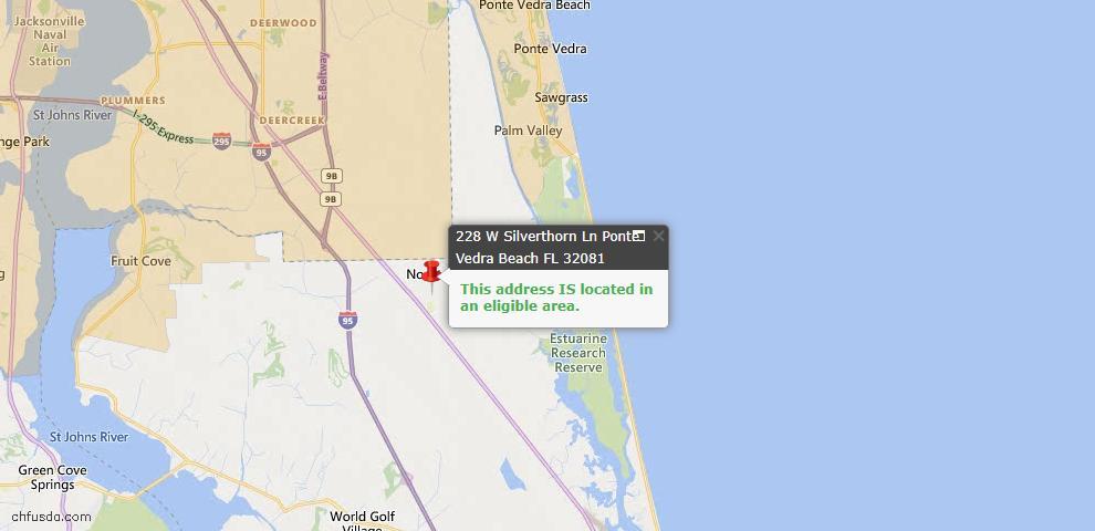 USDA Loan Eligiblity Map - 228 West Silverthorn Ln, Ponte Vedra, FL 32081