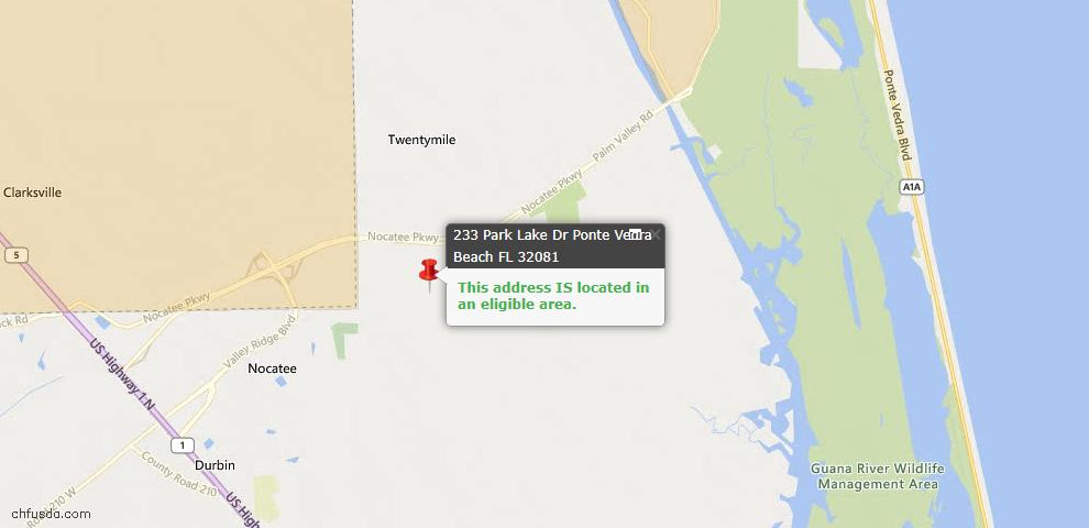USDA Loan Eligiblity Map - 233 Park Lake Dr, Ponte Vedra, FL 32081