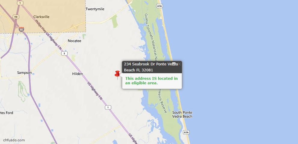 USDA Loan Eligiblity Map - 234 Seabrook Dr, Ponte Vedra, FL 32081
