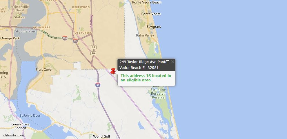 USDA Loan Eligiblity Map - 249 Taylor Ridge Ave, Ponte Vedra, FL 32081