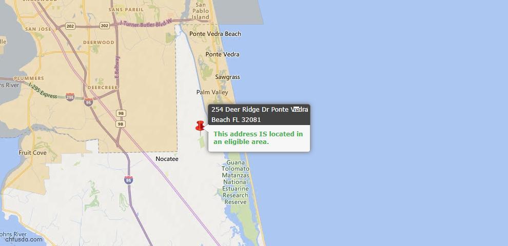 USDA Loan Eligiblity Map - 254 Deer Ridge Dr, Ponte Vedra, FL 32081
