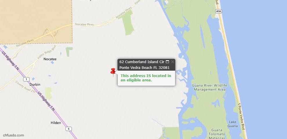 USDA Loan Eligiblity Maps From - Ponte Vedra, FL