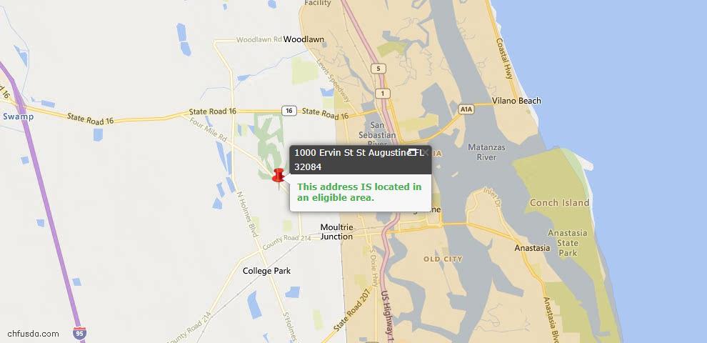 USDA Loan Eligiblity Map - 1000 Ervin St, St Augustine, FL 32084