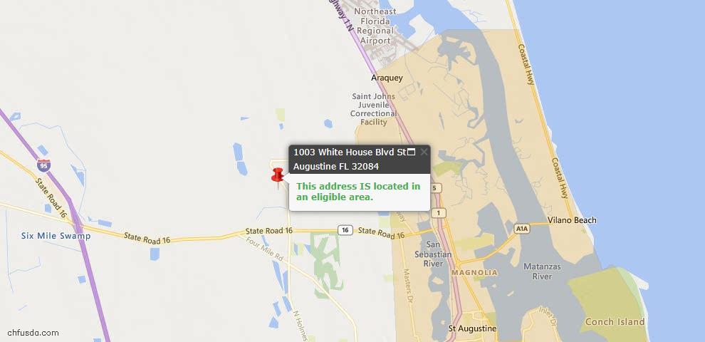 USDA Loan Eligiblity Map - 1003 White House Blvd, St Augustine, FL 32084