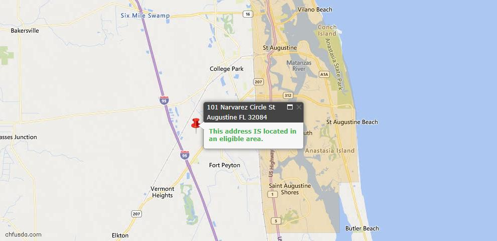 USDA Loan Eligiblity Map - 101 Narvarez Ave, St Augustine, FL 32084