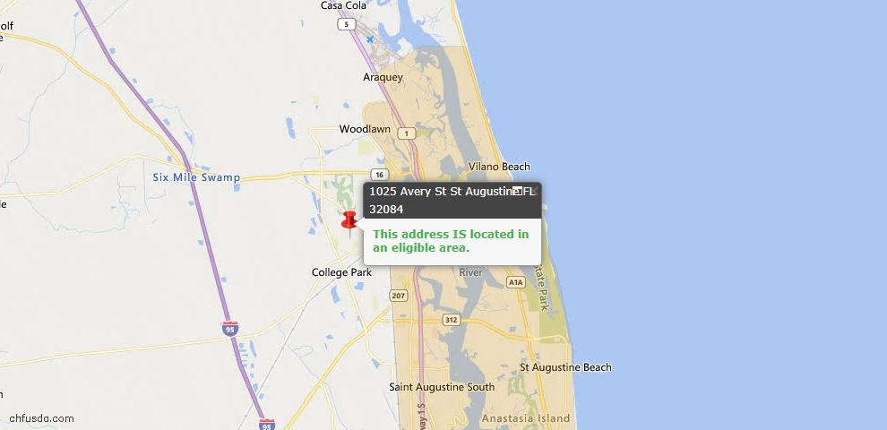 USDA Loan Eligiblity Map - 1025 Avery St, St Augustine, FL 32084