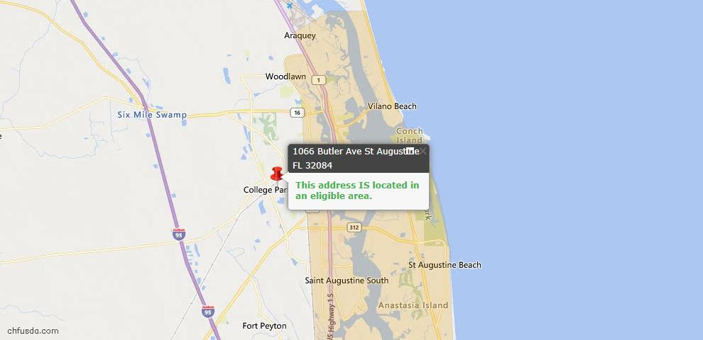USDA Loan Eligiblity Map - 1066 Butler Ave, St Augustine, FL 32084