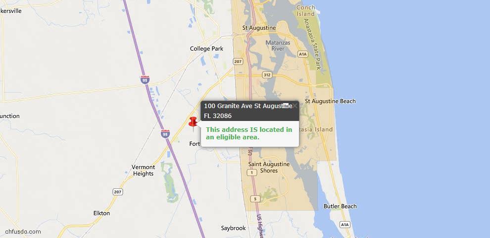 USDA Loan Eligiblity Map - 100 Granite Ave, St Augustine, FL 32086
