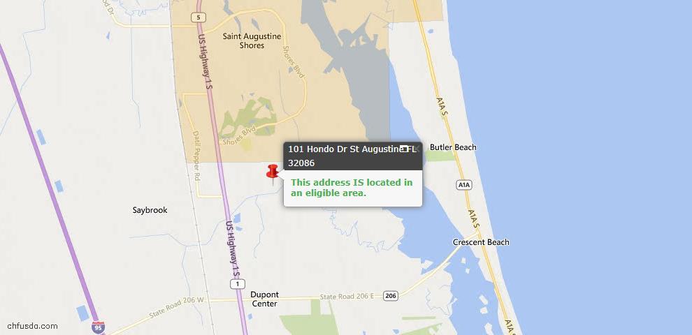 USDA Loan Eligiblity Map - 101 Hondo Dr, St Augustine, FL 32086