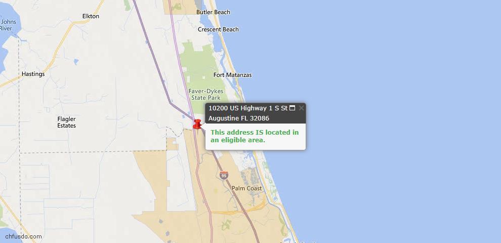 USDA Loan Eligiblity Map - 10200 Us Highway 1, St Augustine, FL 32086