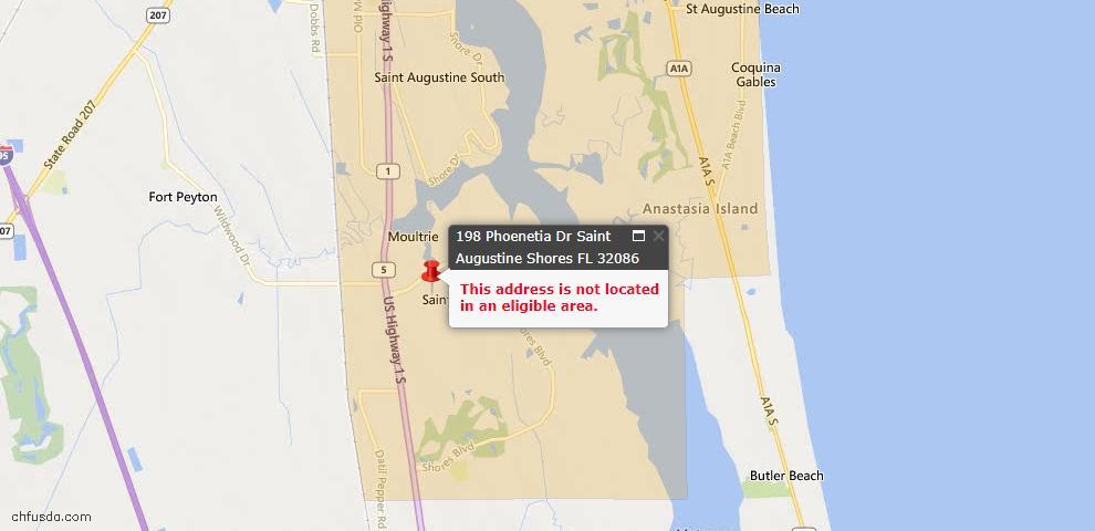 USDA Loan Eligiblity Maps From - Saint Augustine, FL