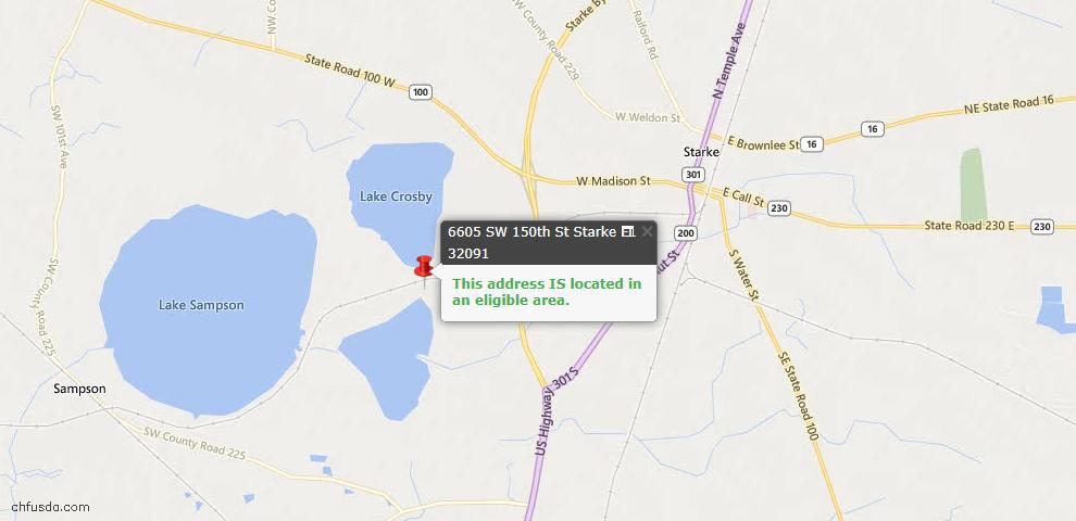 USDA Loan Eligiblity Maps From - Starke, FL