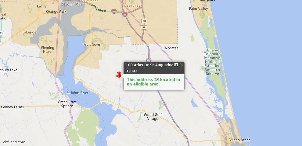 USDA Loan Eligiblity Map - 100 Atlas Dr, St Augustine, FL 32092
