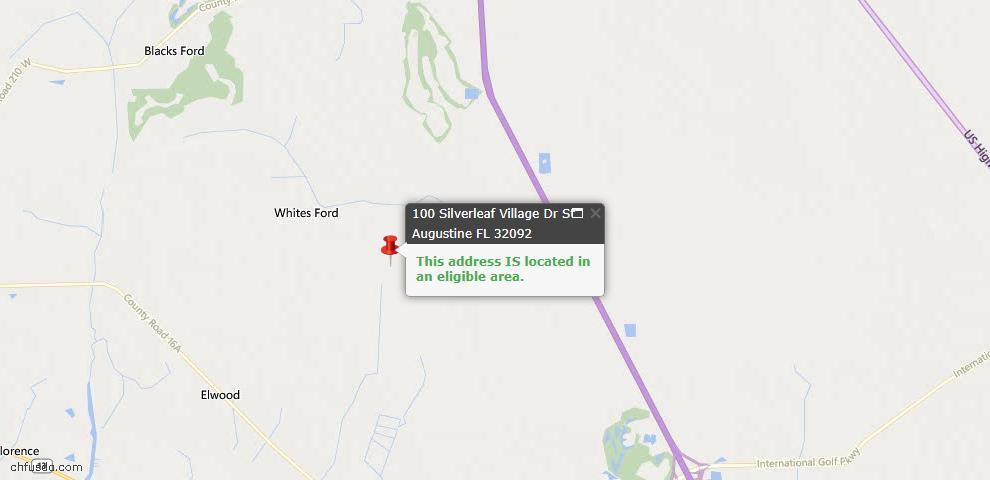 USDA Loan Eligiblity Map - 100 Silverleaf Village Dr, St Augustine, FL 32092