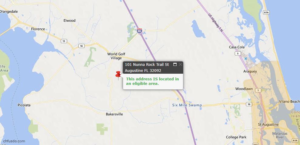 USDA Loan Eligiblity Map - 101 Nunna Rock Trl, St Augustine, FL 32092