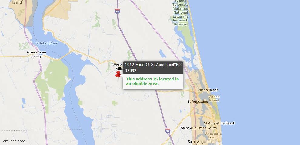 USDA Loan Eligiblity Map - 1012 Enon Ct, St Augustine, FL 32092