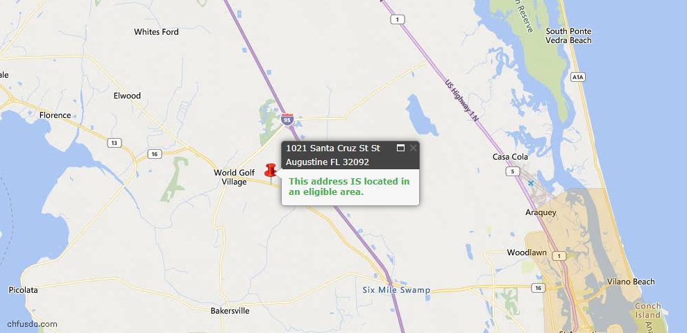 USDA Loan Eligiblity Map - 1021 Santa Cruz Street St, St Augustine, FL 32092