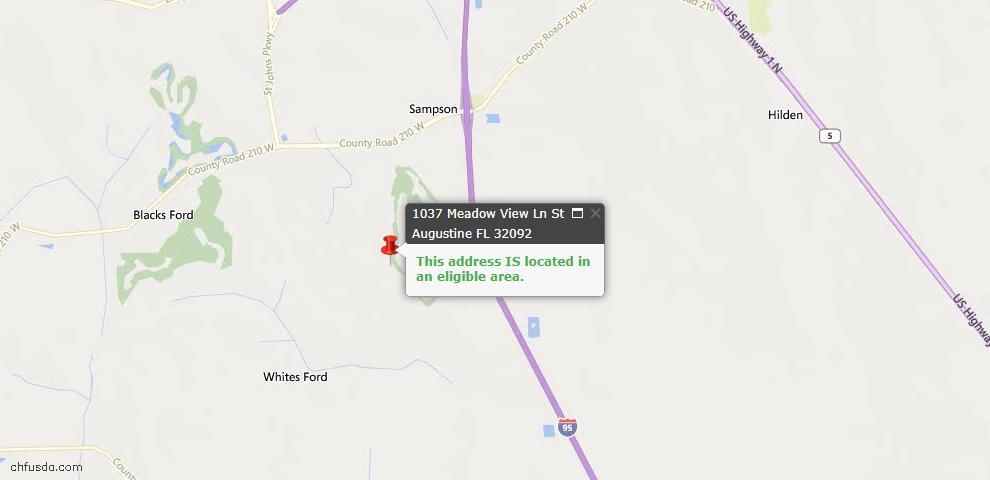 USDA Loan Eligiblity Map - 1037 Meadow View Ln, St Augustine, FL 32092