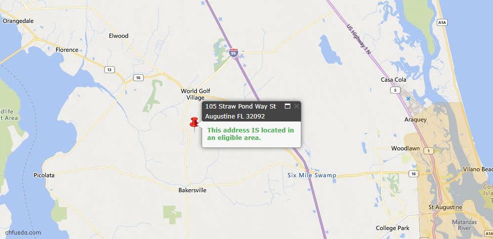 USDA Loan Eligiblity Map - 105 Straw Pond Way, St Augustine, FL 32092