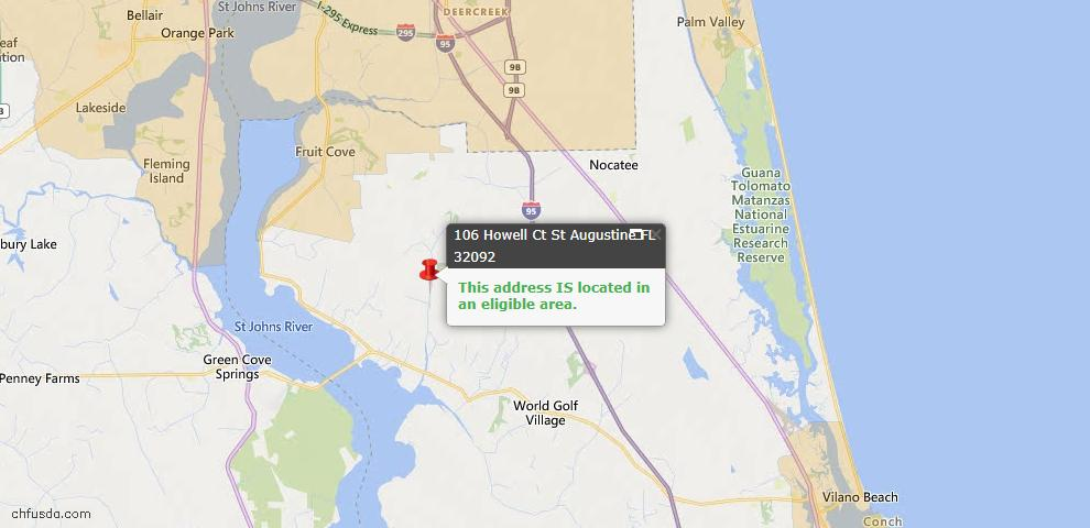 USDA Loan Eligiblity Map - 106 Howell Ct, St Augustine, FL 32092