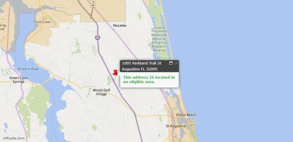 USDA Loan Eligiblity Map - 1005 Parkland Trl, St Augustine, FL 32095